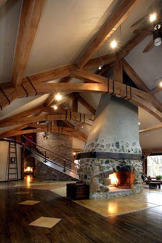 Rustic fireplace, wood-burning