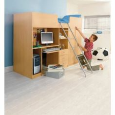 Buy Ohio Beech High Sleeper with Wardrobe & Desk- Small Single at Argos.co.uk - Your Online Shop for Children's beds, Children's beds.