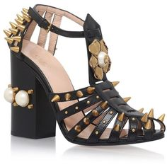 Gucci Kendall Studded Sandals 110 ($1,405) ❤ liked on Polyvore featuring shoes, sandals, pearl shoes, block heel shoes, floral sandals, embellished sandals and beaded sandals
