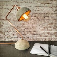 Objects just like industrial concrete copper desk lamp, concrete base lampshade,