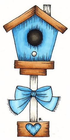 Birdhouse; bow; heart