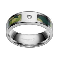 Diamond Accent Stainless Steel Camouflage Stripe Wedding Band - Men, Size: