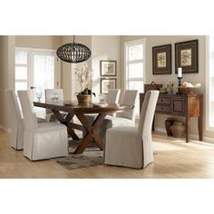 Signature Design by Ashley Burkesville Dining Set with Slipcover Dining Chairs - Home Furniture Showroom $1572, chairs and buffet included, CANNOT be returned!!!