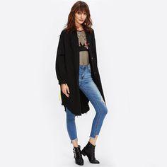 Graffiti Print Ribbons Back Dolphin Hem Coat Black Single Breasted Knee Length Top Collar Long Sleeve Coat