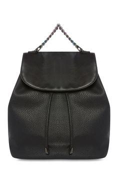 Zwarte rugzak met grove ketting