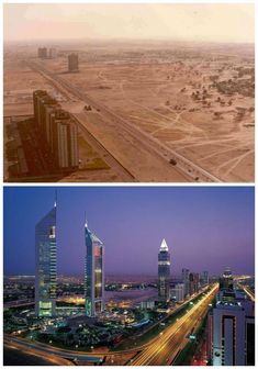 Some of these are just unbelievable! Dubai in the and now. Beijing, Shanghai, Nairobi, Machu Picchu, Places To Travel, Places To See, Hong Kong, Australia, World Cities