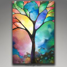 """Abstract landscape tree canvas giclee, 20x30 inch on stretched canvas, from my abstract painting """"Tree of Light"""""""