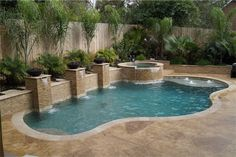 Really like the elevation change for the back wall and the design of the water feature as well as the cascading spa into the pool. Small Swimming Pools, Small Backyard Pools, Backyard Pool Landscaping, Backyard Pool Designs, Small Pools, Backyard Retreat, Swimming Pools Backyard, Inground Pool Designs, Small Pool Design