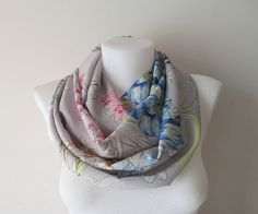 Grey Floral Infinity Scarf Gray Lightweight Scarf Circle