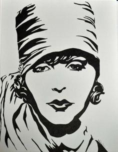 Greta Garbo Sharpie Drawing by allenspearsart on Etsy, $25.00