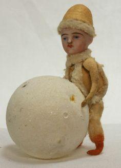 Antique German Bisque Head Cotton Batting Christmas Ornament c1910