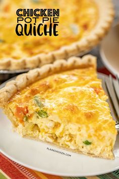 Chicken Pot Pie Quiche - comfort food at its best! Chicken, vegetables, cheddar cheese, eggs, milk and cream of chicken soup. The chicken s. Plain Chicken Recipe, Cream Of Chicken Soup, Chicken Recipes, Chicken Soups, Chicken Breakfast Recipes, Cooked Chicken, Cheesy Chicken, Turkey Recipes, Grilled Chicken