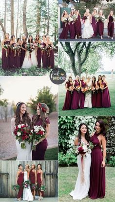 Burgundy bridesmaid dresses have been popular for autumn wedding. A burgundy bridesmaid dress can actually take on a lot of different.mismatch bridesmaid beautiful Wedding Announcements team loves this Fall Bridesmaid Dresses, Fall Wedding Dresses, Wedding Bridesmaids, Wedding Flowers, Prom Dresses, Long Dresses, Bridesmaid Color, Bridesmaid Outfit, Burgundy Brides Maid Dresses