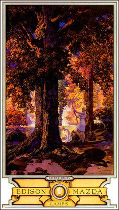 "Maxfield Parrish (American, 1870-1966). ""Golden Hours/Autumn"" 1927."