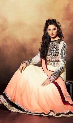 Bollywood Star Nargis Fakhri Georgette Long Anarkali Dress Price: Usa Dollar $131, British UK Pound £77, Euro97, Canada CA$142 , Indian Rs7074.