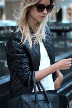 Quilted leather jacket Topshop & Prada Sunglasses