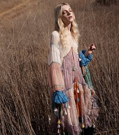 STYLE / COLORS / MAKEUP Zlata Semenko models a multi-colored dress designed by Chloe with tassels