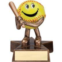"Softball Trophy - 4"" Resin Happy Softball Trophy"
