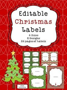 Make your own Christmas Task Cards, Word Walls, Flash Cards, or Letters to Parents with these editable Christmas Labels.There are 24 sheets of labels in this product with 4 different sizes and 6 different styles.
