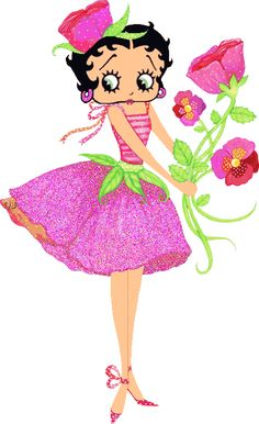 Betty Boop Pictures Archive: roses ~ For more #BettyBoop graphics & greetings, go to:  http://bettybooppicturesarchive.blogspot.com/ Animated gif of Betty with pink roses