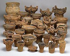 JOMON POTS (middle stage) - Shomachi earthenware, Kawarada Ruins, Nagano Prefecture.