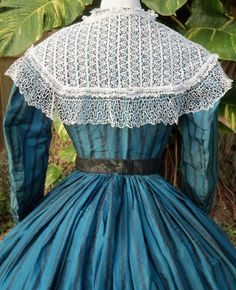 Back of dress with lace pelerine c.1865