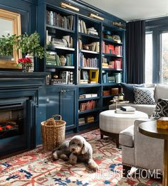 Cosy Navy Library by designer Meredith Heron