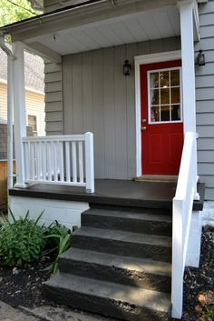 Concrete porch paint ideas painting a exterior colors House With Porch, House Front, Concrete Front Porch, Painted Concrete Porch, Paint Concrete, Painting Cement, Concrete Patio, Painting Tips, Porch Paint