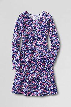 Girls' Long Sleeve Knit A-Line Dress from Lands' End
