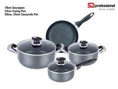 4pc NON-STICK COOKWARE GIFT SET - non-stick, easy clean coating (Dyflon P.T.E.F titanium tri-coating), allowing for low-fat cooking and even heat conductivity / 18/10 grade stainless steel riveted handles / tempered, self-basting glass lid with vent, for easy viewing. Suitable for use on all heat sources except induction and oven. Set contains: 18cm saucepan / 20-24 casseroles / 24cm frying pan / 3 lids