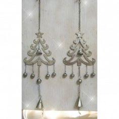 Hanging Flat Metal Tree with Bells
