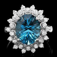 14k White Gold 5.50ct Topaz 0.70ct Diamond Ring : Lot 165C