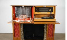 Vintage Walnut Console with Stereo Turntable and Radio