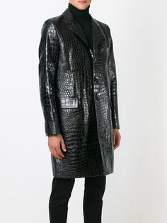 1e81f3228f4 Saint laurent Crocodile Embossed Coat in Black for Men | Lyst Mens Leather  Coats, Leather