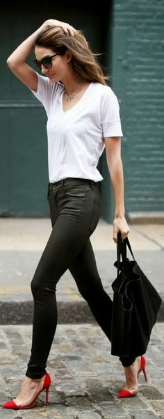 Perfect Work Outfit With High Heel Pointed Pumps Click for more