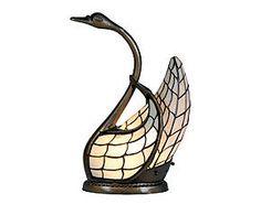 Lampada da tavolo stile Tiffany in vetro e metallo Zwaan - H 45 cm