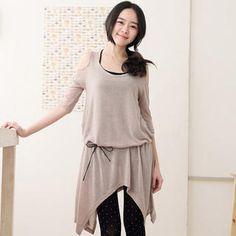 Cutaway-Shoulder Hanky-Hem Dress