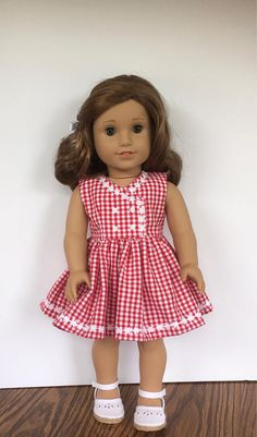 18 doll red and white gingham dress with white daisy