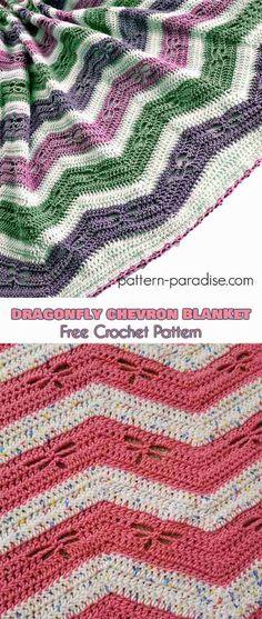 Dragonfly Chevron Blanket Free Crochet Pattern #freecrochetpatterns #crochetblanket #babyblanket