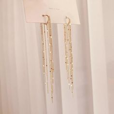 Prom Earrings, Tassel Drop Earrings, Prom Jewelry, Chain Earrings, Wedding Jewelry, Dangle Earrings, Gold Statement Earrings, Gold Hanging Earrings, Long Silver Earrings