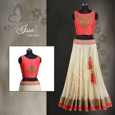 SC550 : Coral peach and half white crop top Lehenga!!! To order please call/WhatsApp 9949944178 or mail us @ issadesignerstudio@gmail.com 11 May 2016