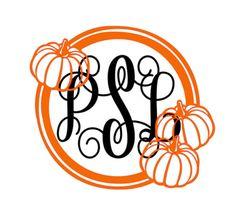 Fall Pumpkin Spice Monogram Vinyl Decal, Custom Car Decal, Personalized 3 letter…