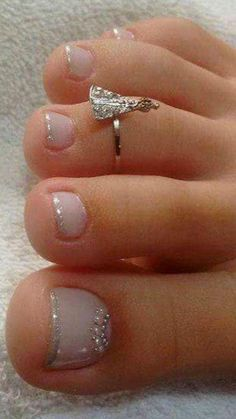 Toe Nails -Cute Toe Nails - Toe nail art design ideas for summer time Pedi pink sparkle pearl stone Cute Multi Color Toe Nail Design Flip Flops Pretty Toe Nails, Cute Toe Nails, Cute Toes, Gorgeous Nails, Gold Manicure, Pedicure Nail Art, Toe Nail Art, Pedicure Ideas, Nail Nail