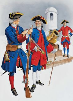 Florida & West Indies, c. 1730s-1763 • Infantry private, c. 1735-40  • Infantry officer, c. 1740  • Artillery gunner, c. 1755