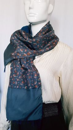 Vintage 70's HERMÈS PARIS Fine Floral Printed Silk and Softest Cashmere Wool Blend Double Layer Long Scarf w Worsted Fringed End Detail.