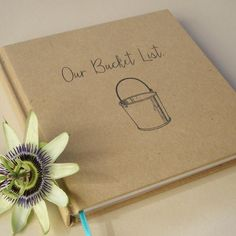 Our Bucket List. Paper Anniversary Book. First Anniversary Gift. http://www.transientbooks.com/collections/in-stock-books-for-sale/products/kraft-paper-wedding-guest-book-vintage-bicycle