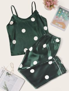 Shop Polka Dot Satin Cami Pajama Set at ROMWE, discover more fashion styles online. Cute Pajama Sets, Cute Pjs, Cute Pajamas, Pajamas Women, Pj Sets, Night Outfits, Fashion Outfits, Fashion Styles, Outfit Night
