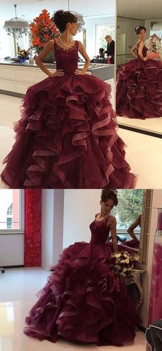 Amazing burgundy lace tulle long prom gown, burgundy evening dress – trendty