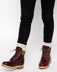 "Image 1 of Timberland 6"" Premium Burgundy Lace Up Flat Boot"
