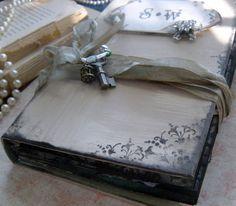 Wedding guest book custom in a vintage by shabbyweddingbooks